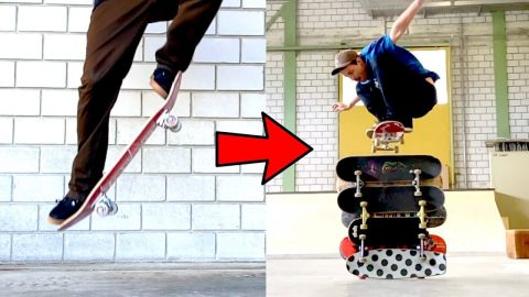 HOW TO OLLIE FROM FLAT TO 7 SKATEBOARDS HIGH - Jonny Giger