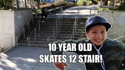 10 YEAR OLD SKATES BIG 12 STAIR! | Vinh Banh