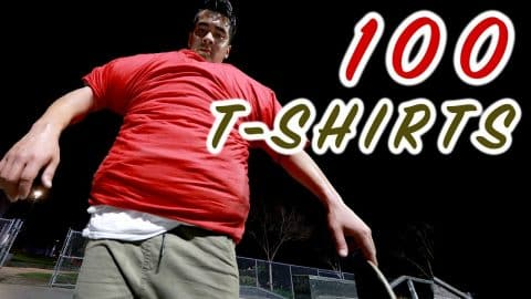 100 LAYERS OF T-SHIRTS SKATEBOARDING - Chris Chann