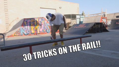 30 TRICKS ON THE ROUND RAIL AT THE SKATEHOUSE!!! - Vinh Banh