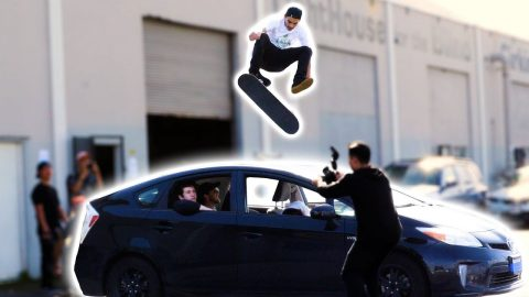 360 FLIP OVER AARON KYRO'S CAR!? - Braille Skateboarding