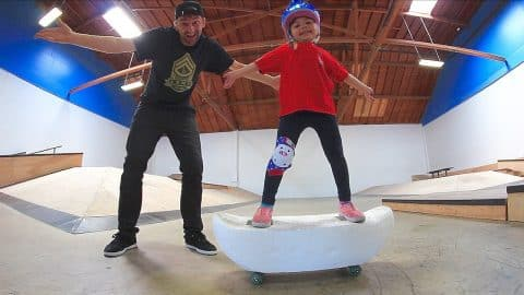 4 YEAR OLD SKATES A STYROFOAM SKATEBOARD! - Braille Skateboarding
