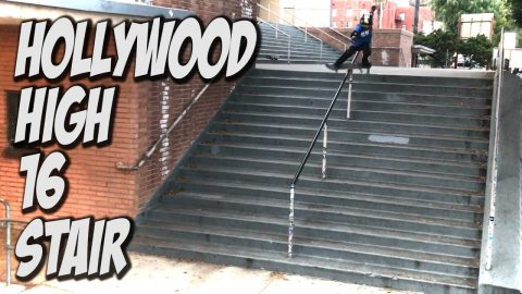 9 YEAR OLD SKATES HOLLYWOOD HIGH 16 STAIR Feat. STEVEN VASQUEZ - A DAY WITH NKA - - Nka Vids Skateboarding