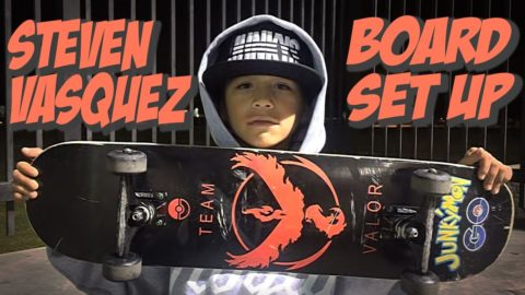 9 YEAR OLD STEVEN VASQUEZ BOARD SET UP & INTERVIEW !!!