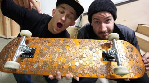 A REAL LIFE PENNY BOARD?! | EPIC 5 STAIR GAME OF SKATE | YOU MAKE IT WE SKATE IT EP 108 - Braille Skateboarding