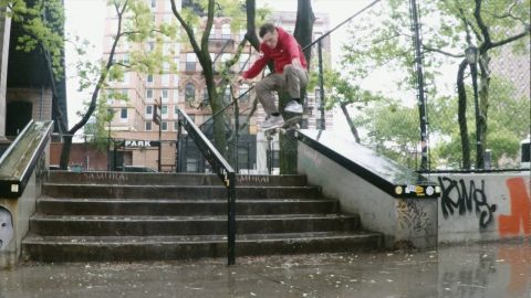 Alex Dechunha skates in the rain (New York) | A Happy Medium Skateboarding