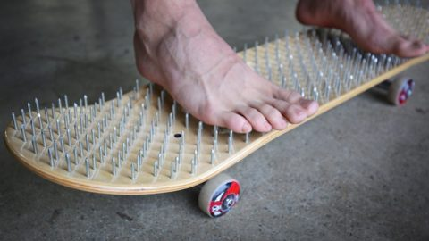 BED OF NAILS SKATEBOARD *BLOOD ALERT!* | YOU MAKE IT WE SKATE IT EP 73 - Braille Skateboarding
