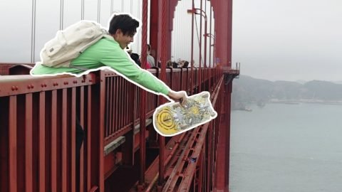 BOARD FLIP OFF GOLDEN GATE BRIDGE