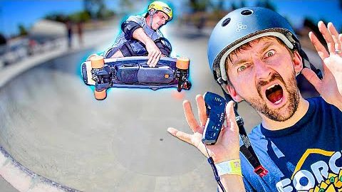 BOOSTED ELECTRIC BOARD VS 15 FOOT BOWL?! | Braille Skateboarding