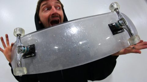 BULLET PROOF GLASS BOARD WITH CLEAR ACRYLIC WHEELS | YOU MAKE IT WE SKATE IT EP 84 - Braille Skateboarding