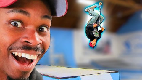 CAN A SKATEBOARDER BACKFLIP A SCOOTER?! | Braille Skateboarding