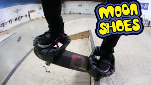 CAN YOU SKATE WEARING MOON SHOES?! *DEADLY* - Braille Skateboarding