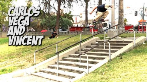 CARLOS VEGA AND VINCENT LUEVANOS SKATING HUGE RAIL AND MORE !!! - NKA VIDS - - Nka Vids Skateboarding