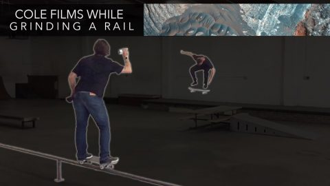 Chris Cole Films While Grinding a Rail - Mikey Taylor