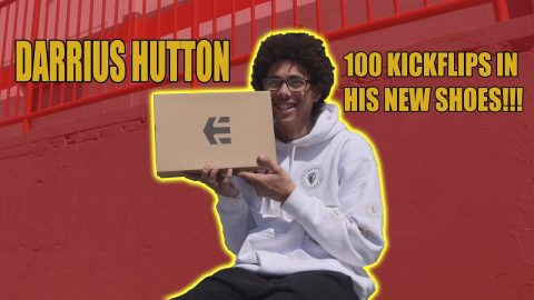 DARRIUS HUTTON 100 KICKFLIPS IN HIS NEW SHOES!!! - Vinh Banh