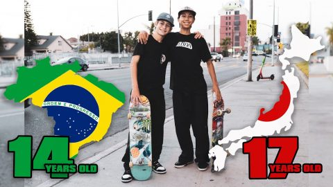 DAY WITH 2 FOREIGN TEEN SKATERS | Luis Mora