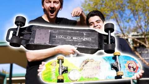 ELECTRIC VS REGULAR SKATEBOARD!?  CARBON FIBER HALO BOARD 2 - Braille Skateboarding