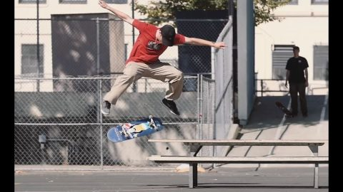 Front Krook Nollie Flip LA Picnic Table - Tobias Mullerdud from Dwindle's LA Skate cation - Metro Skateboarding