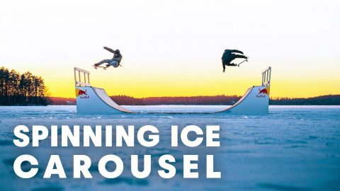 FROZEN SKATE FUN: Skateboarding a spinning ice carousel. - Red Bull