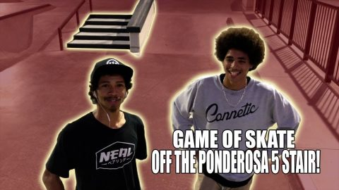 GAME OF SKATE OFF THE PONDEROSA 5 STAIR!! | Vinh Banh