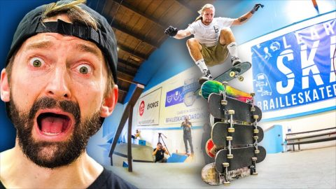 GLASS SKATEBOARD HIGH OLLIE CHALLENGE! | Braille Skateboarding