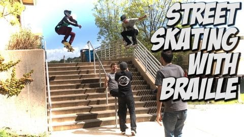 HITTING THE STREETS WITH VINNIE BANH & BRAILLE SKATEBOARDING !!! - A DAY WITH NKA - Nka Vids Skateboarding