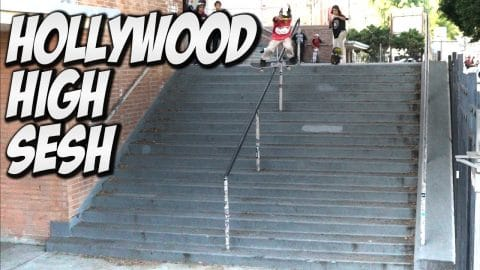 HOLLYWOOD HIGH 16 STAIR INSANE SESSION !!! - A DAY WITH NKA - - Nka Vids Skateboarding