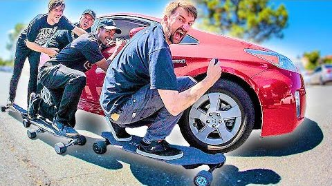 HOW MANY ELECTRIC SKATEBOARDS DOES IT TAKE TO PUSH A CAR?!? | Braille Skateboarding