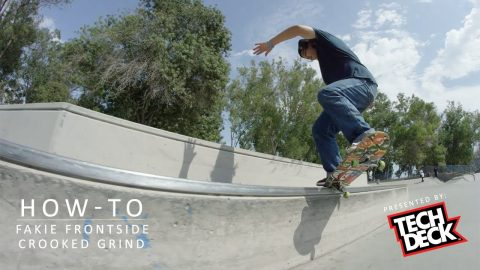 How-To Fakie Front Crooked Grind With Franky Villani (Presented by Tech Deck) - TransWorld SKATEboarding
