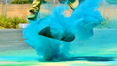 INSANE SLOW MOTION SKATING THROUGH COLORED POWDER | Braille Skateboarding