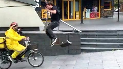 INSTABLAST! - Skater Kickflip INTO BIKE BASKET!! Hardflip Late Varial Flip, WILL IT TRE FLIP Stick | Metro Skateboarding