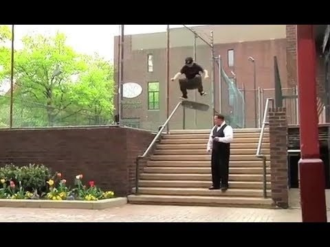 "INSTABLAST! - Skater ""Throws Away"" Scooter!! Fs Flip Right Past Security!! INSANE Ladder Drop-In!! - Metro Skateboarding"