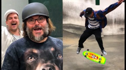 "Jack Black Yells ""DO A KICKFLIP!"" At The Berrics 