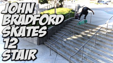 JOHN BRADFORD BATTLES A 12 STAIR SKATEBOARDING !!! - A DAY WITH NKA - Nka Vids Skateboarding