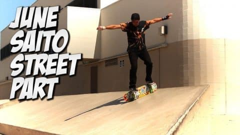 JUNE SAITO STREET PART, BOARD SET UP & CRAZY TRICK SHOTS !!! - Nka Vids Skateboarding