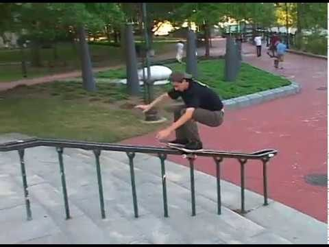 Kevin Klemme Boardslide Up Monument Rail Providence B Roll - World Industries