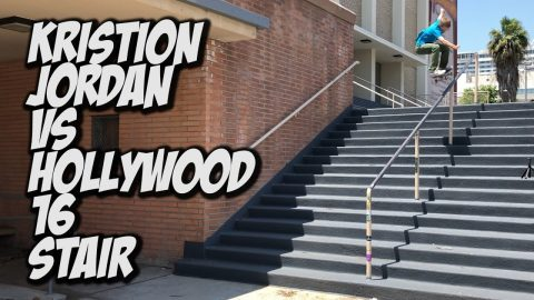 KRISTION JORDAN VS HOLLYWOOD HIGH 16 STAIR !!! - NKA VIDS - | Nka Vids Skateboarding