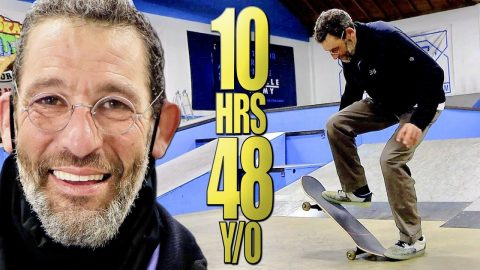 LEARNING TO KICKFLIP IN 10 HOURS at 48 YEARS OLD?! | Braille Skateboarding