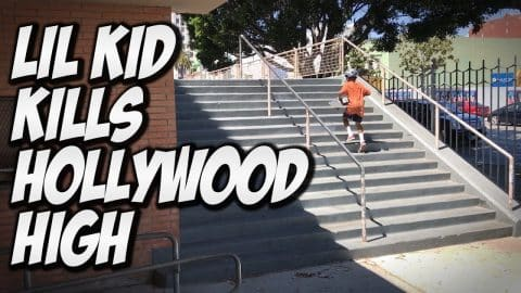 LIL KID DESTROYS HOLLYWOOD HIGH !!! - A DAY WITH NKA - - Nka Vids Skateboarding