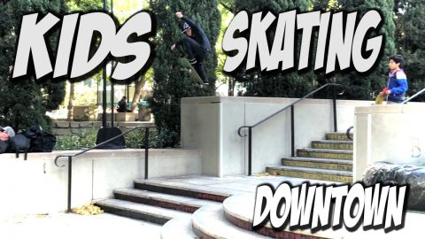 LIL KIDS SKATING DOWN TOWN LOS ANGELES !!! - NKA VIDS - - Nka Vids Skateboarding