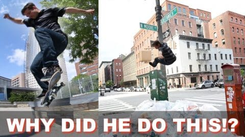 NEW YORK SKATER FALLS OFF LIGHTPOST - Luis Mora