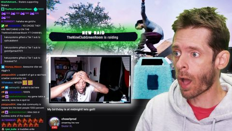 Nine Club Raided Twitch Streamer Playing Skater XL | Best Reaction Ever!! | Nine Club Highlights