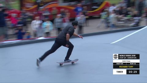 Richard Tury Winning Run - Skateboard Street Semi Final | FISE World Series Edmonton 2018 | FISE