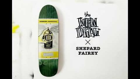 SHEPARD FAIREY Warning Addictive Deck w Logo Lockup Animation | New Deal Skateboards