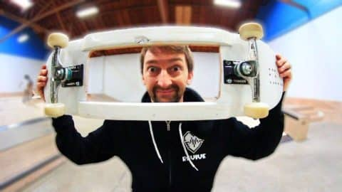 SKATEBOARD WITH A HOLE   CAN YOU BOARDSLIDE THE HANDRAIL WITH THIS?   YOU MAKE IT WE SKATE IT EP 106 - Braille Skateboarding