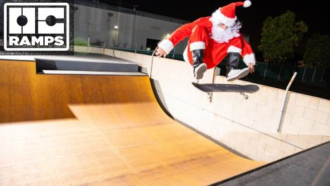 Skateboarding Santa comes to shred | OC Ramps