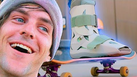 SKATEBOARDING WITH BROKEN ANKLES?!? MEDICAL BOOT STUPID SKATE | Braille Skateboarding
