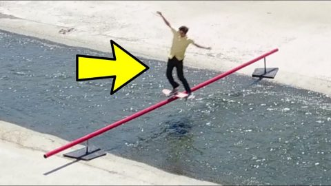 SKATING A 28 FT RAIL OVER THE LA RIVER - Chris Chann