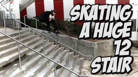SKATING A HUGE 12 STAIR !!! - A DAY WITH NKA - - Nka Vids