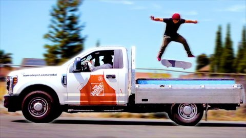 SKATING A MOVING TRUCK IN EXTREMELY SLOW MOTION!   Braille Skateboarding